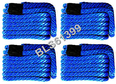 """Set of (4) Blue Solid Braided MFP 3/8"""" in x 15' ft Boat Marine Dock Line Ropes"""