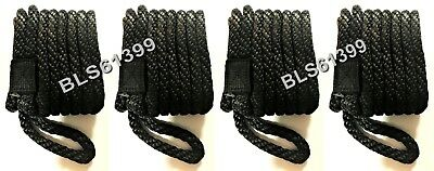 """Set of (4) Black Solid Braided MFP 3/8"""" in x 15' ft Boat Marine Dock Line Ropes"""