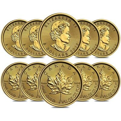 Lot of 10 - 2019 1/10 oz Canadian Gold Maple Leaf $5 Coin .9999 Fine BU (Sealed)