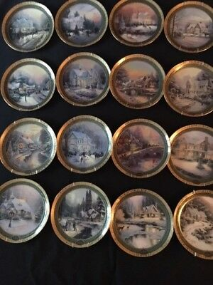 Thomas Kinkade Christmas Plates (16).  Years 1999 - 2014