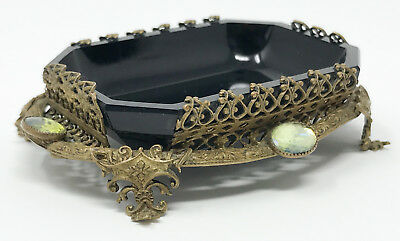 Gorgeous Antique Czech Vanity Brass Glass Dresser Tray Dish Filigree Footed SCP