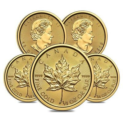 Lot of 5 - 2019 1/4 oz Canadian Gold Maple Leaf $10 Coin .9999 Fine BU (Sealed)