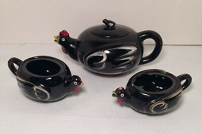 Vintage Chicken Teapot, Sugar & Creamer, Black Ceramic, Handpainted, Japan
