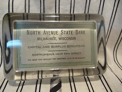1940 North Avenue State Bank Milwaukee Christmas Club Glass Paperweight Mirror