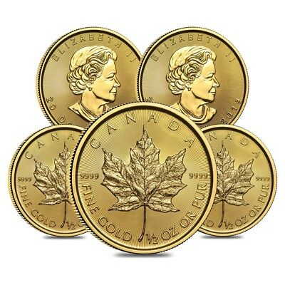 Lot of 5 - 2019 1/2 oz Canadian Gold Maple Leaf $20 Coin .9999 Fine BU (Sealed)