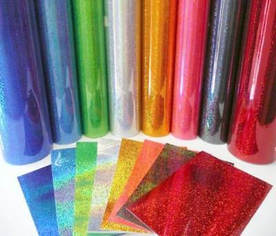 """2 Sheets RED GLITTER Adhesive Vinyl HOLOGRAPHIC 12"""" x 9"""" Sign Craft"""