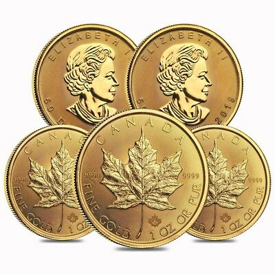 Lot of 5 - 2019 1 oz Canadian Gold Maple Leaf $50 Coin .9999 Fine BU