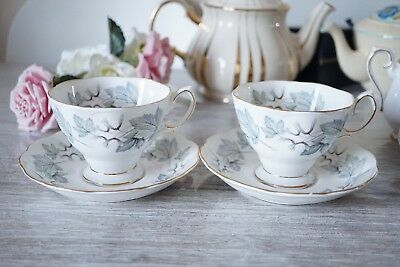 Royal Albert Silver Maple 2 Tea Cups and 2  Saucers