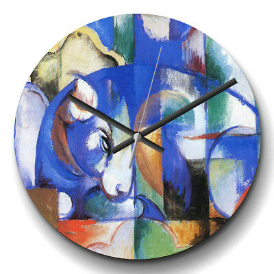 Large Wall Clock Silent 32cm Home Decor Franz Marc Blue Bull Painting