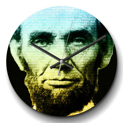 Large Wall Clock Silent Home Decor Abraham Lincoln President Modern Famous Icon