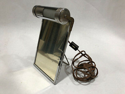 Antique Chrome Deco Travel Shaving Mirror Light Frame Electric Razor Vintage