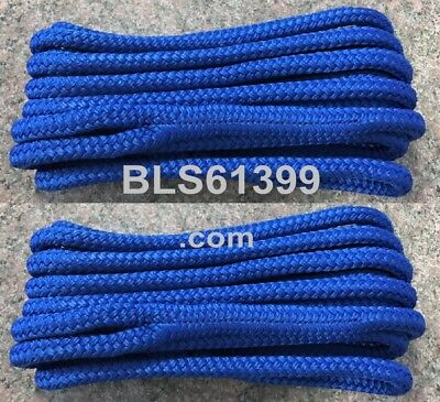 """Set of (2) Blue MFP Double Braided 1/2"""" in x 20' ft Boat Marine Dock Line Ropes"""