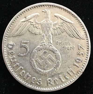 1937 A Germany 5 Mark WWII Third Reich 5 Reichsmarks 90% Silver