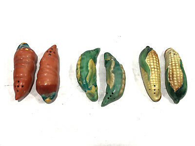 Lot 3 Antique salt pepper shaker set Corn Carrot Peas Vegetables Japan Vintage