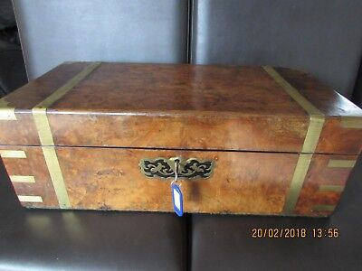 Large victorian burr walnut and brass writing slope key hidden compartment c1850