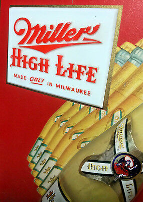 *3D!* Trippy 1951 (Dated) Miller High Life Rolling bottles Beer Sign
