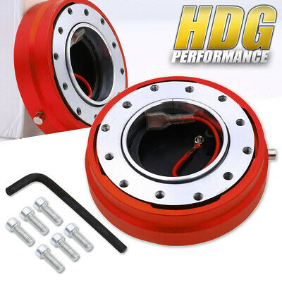 Thin Slim Short Quick Release Steering Wheel Push Button Release Red 6-Bolt