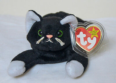 TY BEANIE BABY ZIP white paws PVC ERRORS 4th Gen Hang Tag 5th Gen Tush Retired