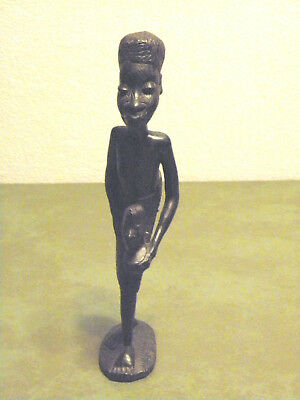 """Handcarved Wooden African Woman W/doll 9"""" Tall Figurine/statue Ebony Wood?"""