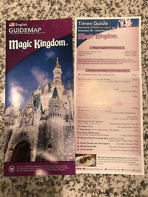 Walt Disney World Magic Kingdom Guidemap and Times Guide December Christmas 2018
