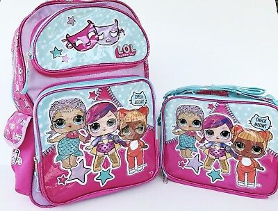 """LOL Surprise: Large 16"""" inches School Backpack & Lunch Box(Brand new &Licensed)"""