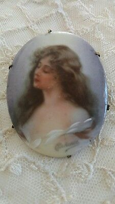 Vtg porcelain signed lady brooch pin victorian painted