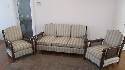 Fully restored JACOBEAN RATTAN LOUNGE SUITE 3-Piece- excellent condition