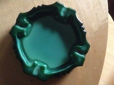 Vintage Art Deco Malachite Glass Ashtray. Retro 1920'S To 1950'S Mid Century.