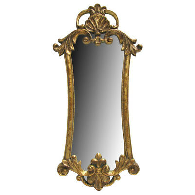 "Ornate Antique Style Vintage Gold Gilt Rococo Baroque Mirror 32 3/4"" X 15"""