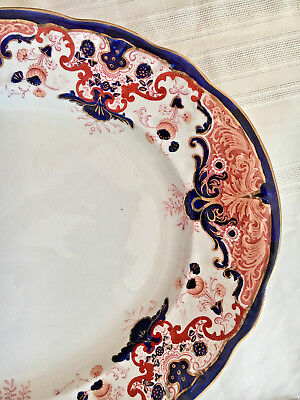 Antique Booths LARGE LUCANIA PLATTER Imari Style 19th c. Staffordshire China 16""