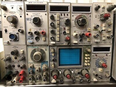 Lot Of 9 Tektronix Modules Including AM502 Differential Amplifier