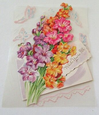 Used Vtg Greeting Card Plastic Card with Pretty Flowers and Butterflies