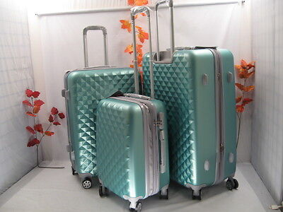 "Nwt Silver Green Spinner Hardcase Suitcase Luggage Upright 30""26""20"" 3Pcs/set"