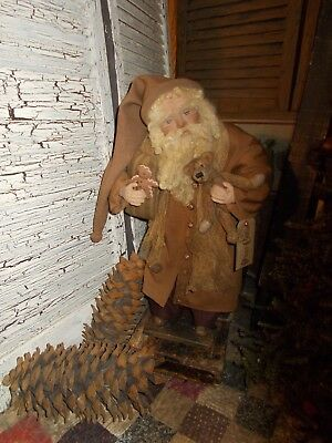 Primitive Santa Claus doll, Antique ticking,Primitive bear, , handmade, ooak
