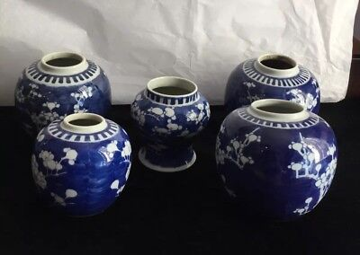 Antique 5 Chinese Blue & White Canton Ginger Jars With Circles On Bottom