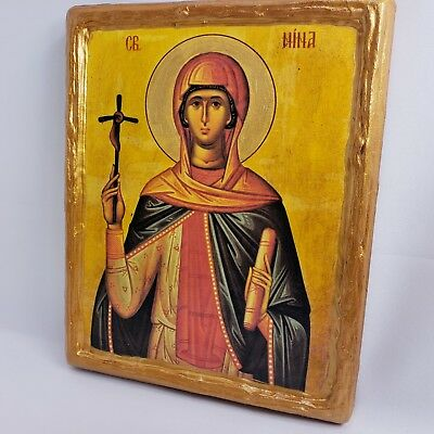Saint Nina Nino Mt Athos Greek Russian Orthodox Monastery Byzantine Icon Plaque