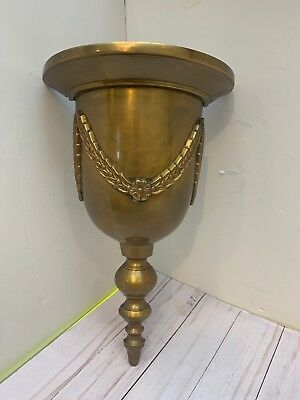 Vintage Solid Brass Ornate Bell Shape Wall Shelf Wall Scone 14'' Tall India
