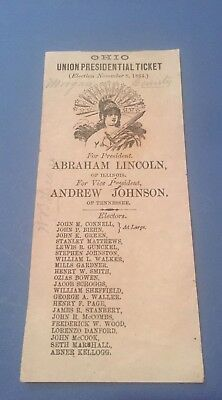1864 Election Original Ballot Abraham Lincoln Soldier Signed