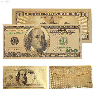 70F9 Gold 24K Gold Plated Dollars Commemorative Notes Home Decoration Souvenir