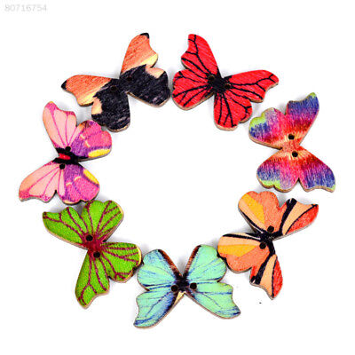 D474 50Pcs Multicolor Butterfly Shape Wood Button Crafts Household Costumes
