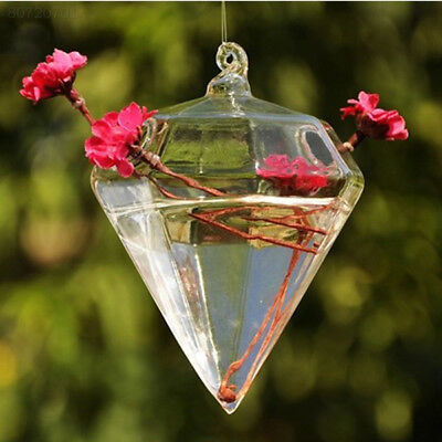 C2DD Glass Diamond Shape Flower Plant Stand Hanging Vase Home Decoration Decor