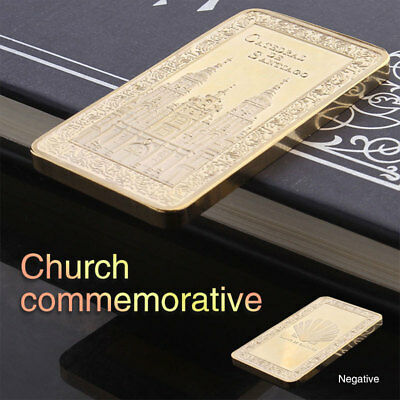 86E9 Church Bullion Bar Souvenir Coin 0.9999 Fine Gold Gifts Home Movie