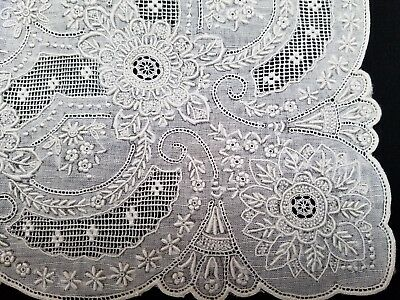 Perfection Embroidered Wedding Hanky Linen Lace & Drawn Work  Handmade Vintage
