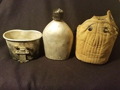 Original Wwii Ww2 Us Army Usmc Canteen,cup,cover(All Dated)