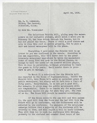 IMPORTANT Gifford Pinchot SIGNED Letter 1916, SHIELDS BILL / GRAND CANYON