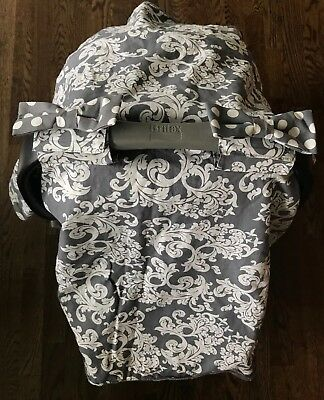 New Gray & White Damask/ Minky Infant Car Seat Cover