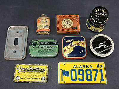 Lot Antique Tin Panama Flying Boat Alaska License Plate Gazelle GE Typewriter