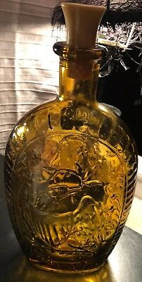 General George Washington Amber Glass Bottle Eagle W/ Cork Vintage & Collectible
