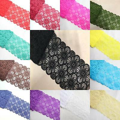 18cm Width 5yards Flower Stretch Lace Trim Ribbon Sewing Dress Skirt Handicrafts