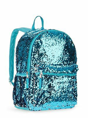"Aqua Blue 2 Way Sequins Backpack School Book Bag School Tote Full Size 16"" NEW!"